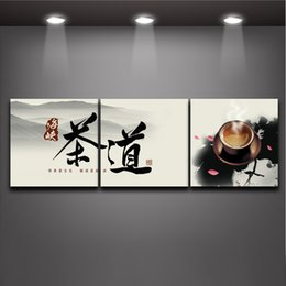 Wholesale Canvas Wall Art Quote - Chinese Tea Ceremony and Character Quote 3 Panels Painting Canvas Prints Modern Mural Art Picture Home Restaurant Hotel Wall Decoration