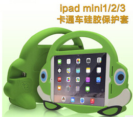 Wholesale Ipad Mini Carry Cases - 2015 Cartoon car Tote Silicone case for iPad mini mini2 mini3 with one handle Tablet Carry Bag Shockproof Kids cute tablet Smart Cover