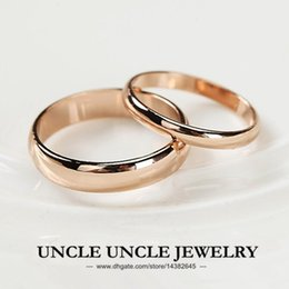 Wholesale Gold 2mm - Unisex!!! Rose Gold Plated Width 5mm 2mm Classic Simple Glossy Finger Ring Wholesale 18KRGP Stamp