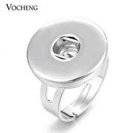 Wholesale Ring Adjustable Silver - VOCHENG NOOSA Snap Charms Adjustable Ring Interchangeable Jewelry Metal Snap Button Jewelry (VH-003)