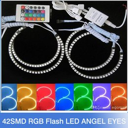 Wholesale Bmw E38 - New E36 E38 E39 E46 5050 42SMD RGB Flash SMD LED ANGEL EYES HALO RINGS kit for BMW