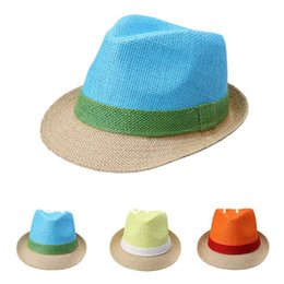 Wholesale orange fedora - Wholesale-In Stock!(1Pcs Lot) Brand New Fashion Men Women Summer Straw Beach Sum Hat Jazz Caps fedoras hat Free Shipping