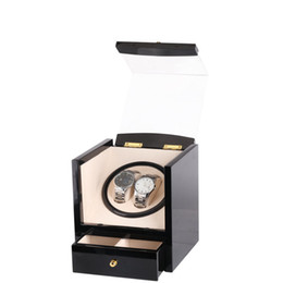 Wholesale Global Displays - Wholesale- Watch Winder Wood Box 2 Slots Global Use with US AU UK EU Plug Battery Black Wood Watch Winder Case for Jewelry&Watches Display