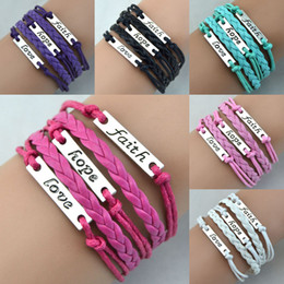 Wholesale Infinity Hope - Antique Charm Bracelets Love Hope Faith Charms Infinity Braided Mix Colors Leather Bracelets Fashion Wrist Jewellery Free Shipping