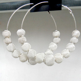 Wholesale Mesh Ball Hoop Earrings - wholesale Silver Plated Basketball Wives Large Mesh Disco Ball Beads Wives Hoop Earrings