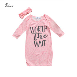 Wholesale Fancy Baby Headbands - Wholesale- Infant Baby Girl Sleeping Bag Pink Color Letter Print Long Sleeve Fancy Clothes Autumn Toddler Sleeping Bag With Headband