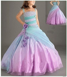Wholesale Ombre Ball Gowns - 2016 Attractive Tulle Girl's Pageant Ball Gown Straps Sweep Train Little Girl Dress Hand Made Flowers Beads Ruffles Ombre Kids Formal Wears