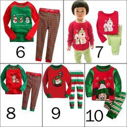 Wholesale Dhl Free Shipping Children Clothes - Kids christmas sleepwear children clothing kids cotton deer stripe tops pants pajamas santas little helper sleepwear sets DHL free shipping