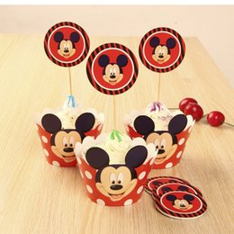 Wholesale Disposable Party - Free Shipping 24pcs Red Mickey Mouse cupcake wrapper topper birthday party favors 4 kids, cup cake toppers picks baby shower supplies
