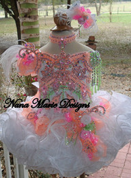 Wholesale Cupcake Green Pageant Dresses Girls - 2015 Cute Ball Gown Girl's Glitz Pageant Dresses Beads Crystals Flowers Feather Organza Flower Girl Dresses Cupcake Dresses