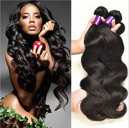 Wholesale Human Remy Weave - 8A Mink Brazilian Body Wave Human Remy Straight Hair Weaves 100g pc 3pcs lot Double Wefts Natural Black Color Human Virgin Hair Extensions