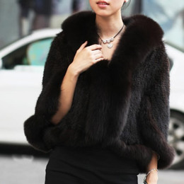 Wholesale Genuine Fur Cape - Free Shipping New Genuine Knitted Mink Fur Shawl Wrap Cape with Fox fur collar women mink fur coat Wholesale retail TF0137