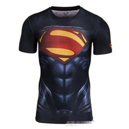 Wholesale Wholesale Batman T Shirts - Custom made Design 3d Superhero t shirts High elastic compression tight Avengers Batman T-shirt sports fitness crew Tees DHl free