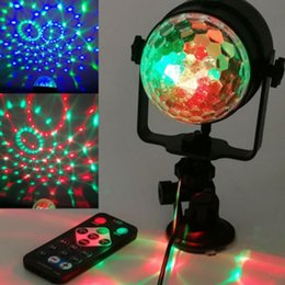 Wholesale Led Magic Ball Remote - Wholesale- Colorful USB Powered Remote Controls LED Crystal Magic Rotating Ball Stage Light
