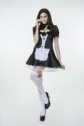 Wholesale Hot Black Woman Maid - 2017 New Black White Plus Maid Dress With Stockings Uniform Temptation Sexy Cosplay Halloween Costumes Club Performance Clothing Hot Sale