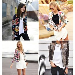 Wholesale Korea Fashion Jacket Winter - 2015 Autumn Winter Female Long Sleeved Printing national Wind Jackets Slim Fit Joker Jackets 4 Style Fashion Personality Korea