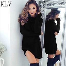 Wholesale long womens dress coats - Wholesale- KLV New 2017 Womens Casual Long Sleeve Jumper Turtleneck Sweaters Coat Blouse Knited Pullovers Solid Brand Fashion Femme Dress