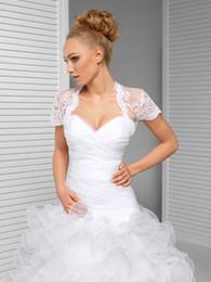 Wholesale Cheap Ivory Lace Shawl - 2016 Cheap Fashion White Ivory Lace Bolero Jacket Illusion Short Sleeve Jackets Bridal Shrug Bride Wraps Wedding Dress Accessories Shawl
