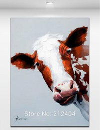 Wholesale Bull Canvas Painting - Lovely Bull - Hand-painted Oil Painting On Canvas Cartoon Animal Wall Art Modern Abstract Home Mural Decoration