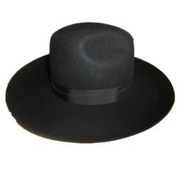 Wholesale Silver Wide Brim Hat - Wholesale-Israel Jewish Hat  Wool Hasidic Jew Fedora Cap + Wide Brim 10 cm