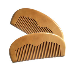 Wholesale Wooden Hair Brushes - Natural Peach Wooden Comb Handmade Straight Pocket Wooden Beard Combs 11.5*5.5*1CM