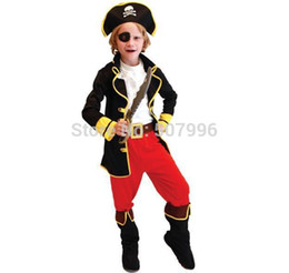 Wholesale Christmas Party Music - Best Selling Party Supplies Pirate Capain Jack Cosplay Boy Clothing Halloween Costume For Kids Children Christmas Costume D-1059