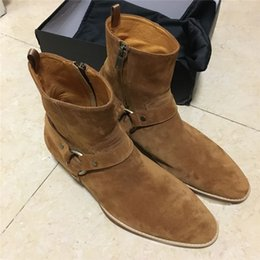Wholesale Denim Wedges - Top quality handmade wyatt Halley harness ankle strap luxury men suede boots brown genuine leather wedge denim boots