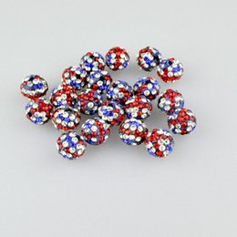 Wholesale Disco Ball Bracelet Flags - Wholesale American flag Color 100pcs Shamballa Beads Crystal Disco Ball Micro Beads Fit Shamballa Bracelet DIY Free shipping