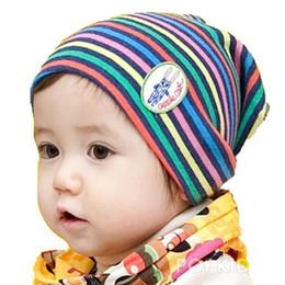 Wholesale Rainbow Knitted Hat - Retail Unisex Baby Rainbow Stripe Beanies Knitted Cotton Hats Children Kids Spring Autumn Cap Skullcap MZ1301