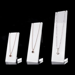 Wholesale Perspex Display Stand - Perspex Necklace Stand Slim Jewelry Display Prop for Boutique Shop Counter Shelf Pendant Chains Necklaces Display Exhibition Holder Set of 3