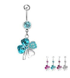 Wholesale Lucky Stainless Steel Ring - New Arrival!! 316l Surgical Steel Crystal Four Heart Love Leaf Clover Lucky Belly Navel Button Piercing Ring fake belly piercing Gift 12PCS