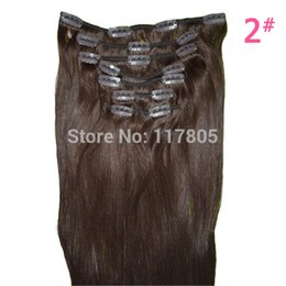 """Wholesale Light Brown Clip Human Hair - Free Shipping Natural Human Hair Extension 115g 8 Pieces  Set Straight Clip in Hair Extensions, 26"""" Dark Brown, Blonde Clip on"""