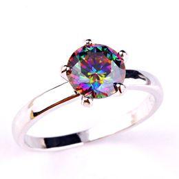 Wholesale Mystic Topaz Stones - Wholesale New Fabulous Newfashioned Round Cut Mystic Rainbow Topaz Silver Ring Size 6 7 8 9 10 11 12 Fashion Jewelry Rings