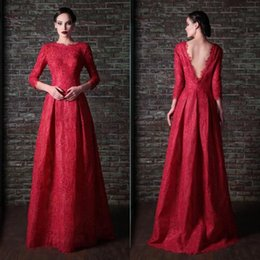 Wholesale Elegant Club Dress - 2015 Long Sleeves Lace Evening Dresses with High Neck Sexy Open V Neck Custom Made Rami Kadi Formal party Elegant Gowns Sweep Train