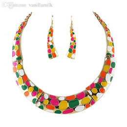 Wholesale Necklace Earrings Neon - Wholesale-Romantic Passionate Style Round Candy Collar Jewelry Sets of Neon Necklace and Earrings