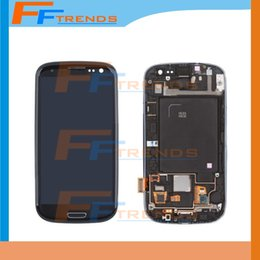 Wholesale Galaxy S3 Lcd Black - Original LCD for Samsung Galaxy S3 i9300 i9305 L710 R530 i535 T999 i747 White black blue Touch LCD Screen Digitizer + Frame