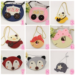 Wholesale Wholesale Cute Coin Purses - Korean Toddler Girls Cartoon animal handbags 2016 Babies boy 16 styles Creative fox shoulder Messenger bag cute coin purse free ship 30pcs