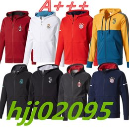 Wholesale Embroidery Belt - JUV 2017-18 real madrid hoodie jacket 17 18 AC milan red jacket with caps ajax DYBALA tracksuit sweater jogging survetement Zipper jackets