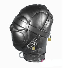 Wholesale Locking Hood Leather - High quality Leather Sex Headgear sensory deprivation bondage hood with Locking Buckles Sex Headgear sex toy