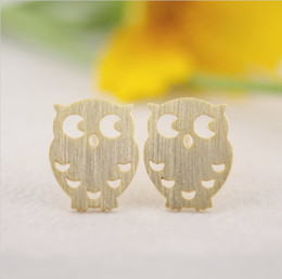 Wholesale Night Earrings - 2016 Top Selling Gold silver rose gold copper Owl stud Earrings tiny small little hoot birds night owl stud EY-E045