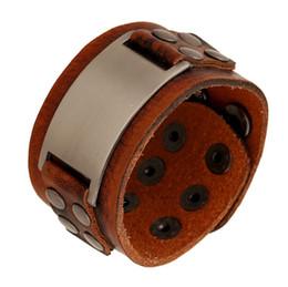 Wholesale Wholesale Vintage Wide Cuff Bracelets - Hand Fashion Retro Genuine Leather Cuff Bracelet Men Vintage Cowhide Wide Brown Bracelets Bangles Jewelry Pulseira Masculina