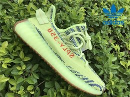 Wholesale Mesh Shoes Heels - Adidas Yeezy Boost 350 V2 Yebra Semi Frozen Gum Sole B37572 Men Women Running Shoes Sport Orange Heel Dots Glow In the Dark