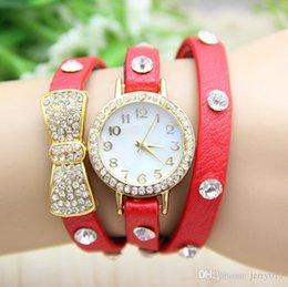 Wholesale Wristwatches Chain - 9 colors New Arrival Fashion Leather Wrap Bracelet Watch Leather Bowknot Chain Watch Women's Wristwatch 1piece lot