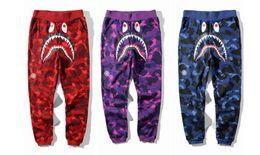Wholesale fleece camo pants - Japan Camo Shark Pant Trousers Fashion WGM Harem Pants Fleece Sportswear Long Trousers Jogger Running Sweatpant