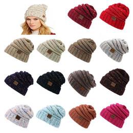 Wholesale Thermal Set Women - Unisex Winter cc cap winter knitting hat thermal autumn wool hats leather CC letter keep warm set head outdoors men women couple caps