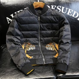 Wholesale Duck Back - 2017 New Winter Men Down Parkas High Quality Tiger Printing Both Sides Back Letter Embroidered Down Jacket Warm Outwear Coat