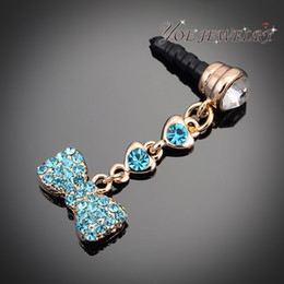 Wholesale Headphone Jewelry Plug - Wholesale-Wholesale Crystal Headphone dust plug Jewelry , Lovely Bow Dust Plug For Cellphone Accessories ,Min Order $10