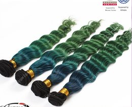 Wholesale Brazilian Vrigin Hair - Free shipping dark roots green hair vrigin Brazilian hair weft hair wave hair weave extension