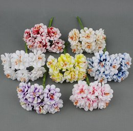 Wholesale Fake Flower Crafts - 3cm Silk Stamen Artificial Flower Bouquet Wedding Decoration DIY Wreath Scrapbooking Craft Fake Flower 72pcs lot