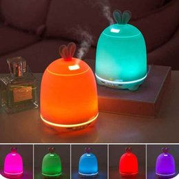 Wholesale Rabbit Night Light Wholesale - cute rabbit humidifier spa Essential oil diffuser for aromatherapy ultrasonic air purifier mist humidifiers USB charge colorful night light